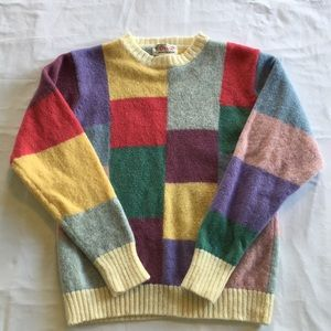 Orvis Shetland wool color block sweater